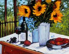 Sunflowers, Wine and Fruits