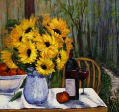 Sunflowers, Red Wine and Apples