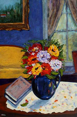 Blue Vase, Flowers and Books by the Window